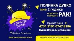 Полинка Дудко помогите победить рак девочке